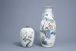 A Chinese famille rose vase with ladies and a ginger jar with birds among branches, 19th/20th C.