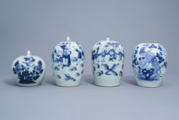Four various Chinese blue, white and celadon ginger jars and jars and covers, 19th/20th C.