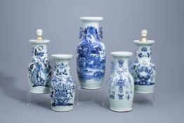 A Chinese blue and white landscape vase and four celadon vases, 19th/20th C.