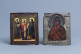 Two Russian icons, 'Mother of God' and 'Saint Nicholas', 19th C.