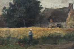 Frantz Binje (1835-1900): View on a farm, oil on canvas marouflated on panel