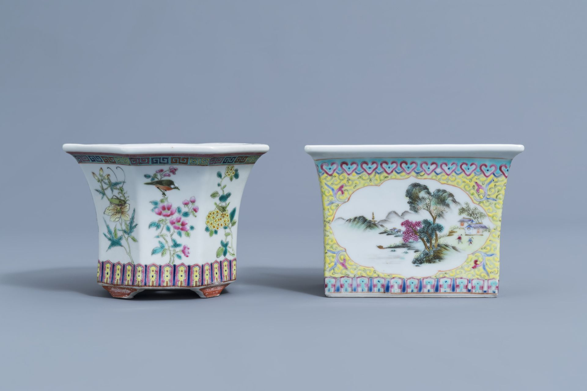 Two Chinese famille rose jardinires and a bowl with floral design, 20th C. - Image 4 of 15