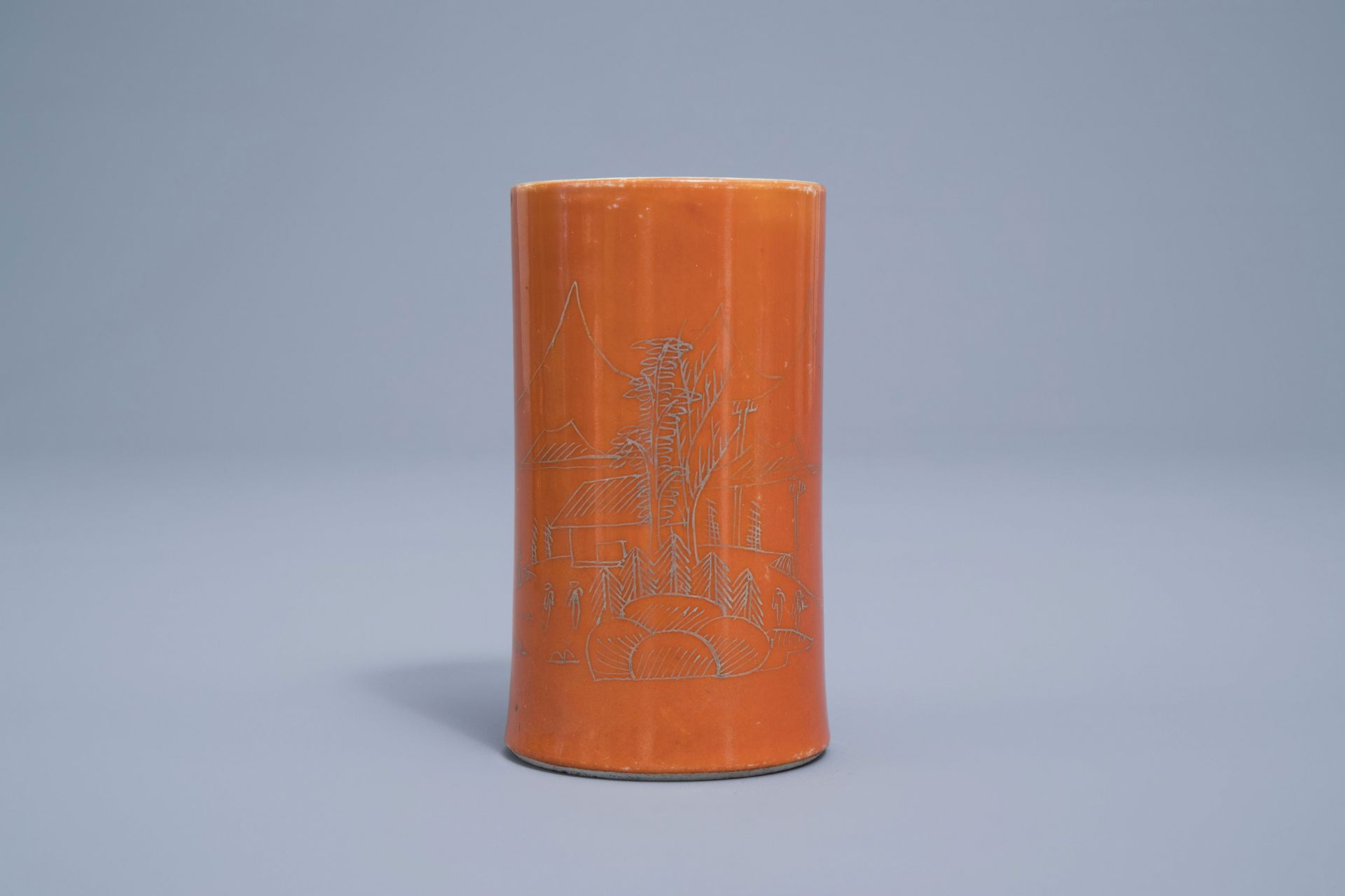 A Chinese four-part gilt decorated coral ground scholar's set, Republic, 20th C. - Image 2 of 22