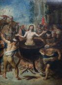 Flemish school: The martyrdom of Saint John the Evangelist, oil on panel, ca. 1600