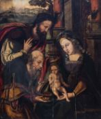 Flemish school: Adoration of the magi, oil on panel, 16th C.