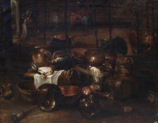Italian school, monogrammed DR: Barn interior with still life, oil on canvas, ca. 1700