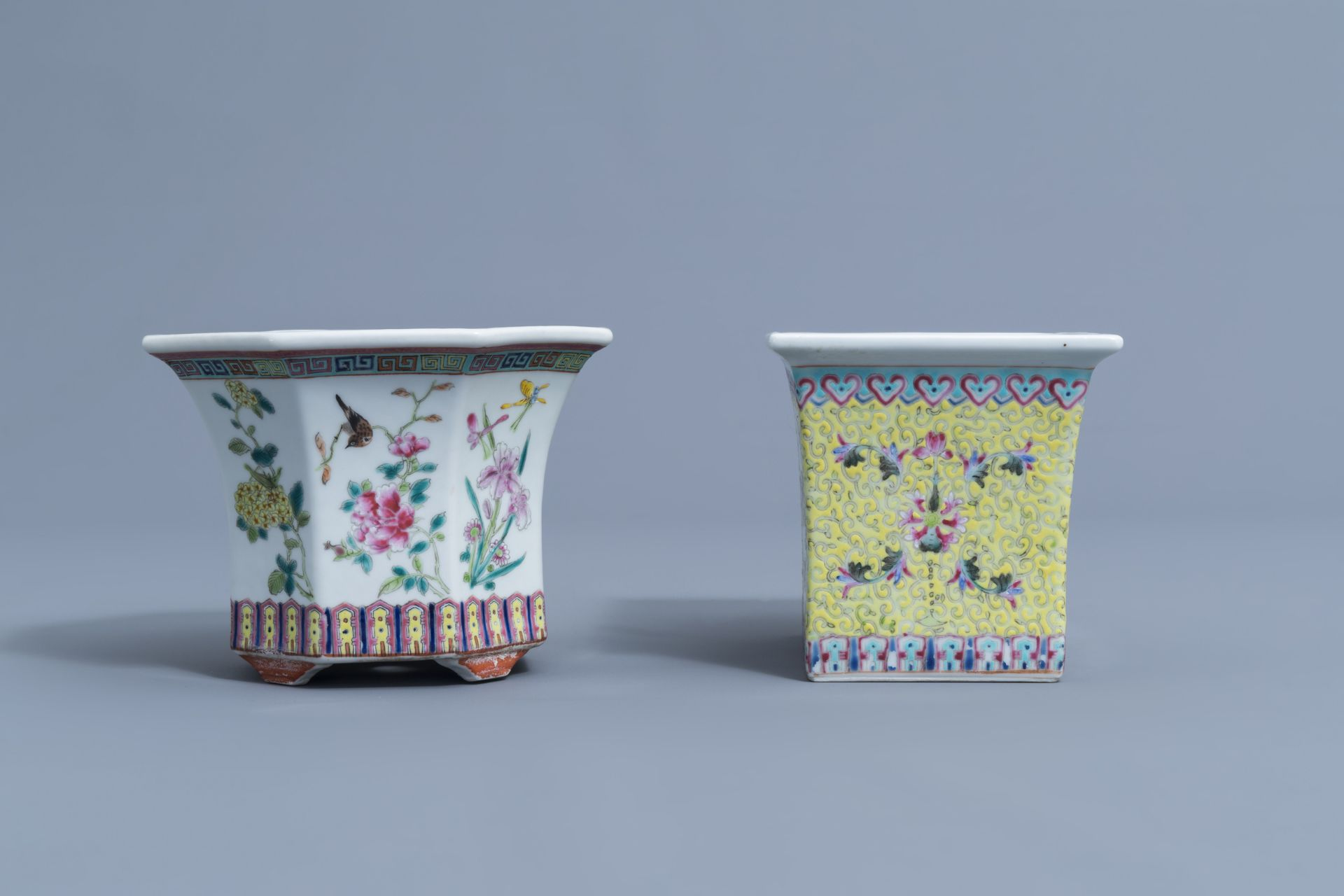 Two Chinese famille rose jardinires and a bowl with floral design, 20th C. - Image 3 of 15
