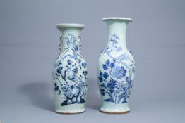 Two Chinese blue and white celadon vases with birds and phoenixes, 19th C.