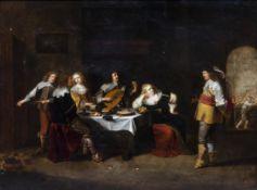 Christoffel van der Lamen (1606/07-1651/52): An elegant company in an interior, oil on copper