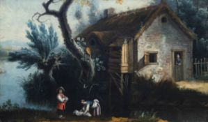 French school: An animated landscape, oil on canvas, 18th C.