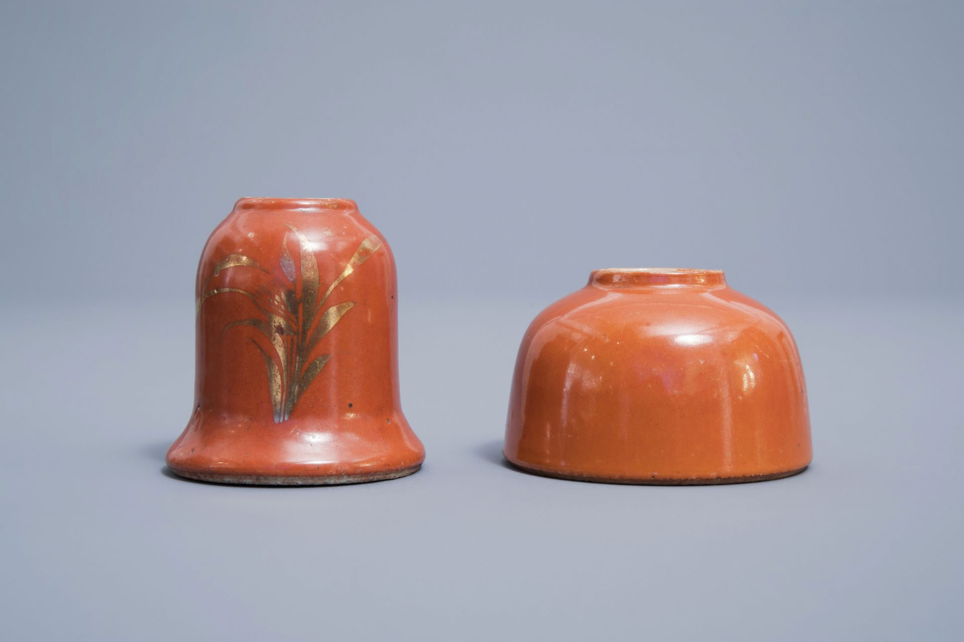 A Chinese four-part gilt decorated coral ground scholar's set, Republic, 20th C. - Image 16 of 22