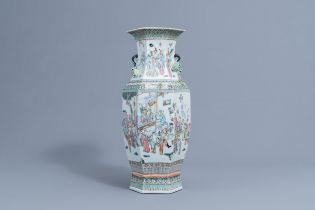 A Chinese hexagonal famille rose vase with figurative design, 19th C.