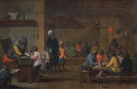 Flemish school: Singerie scene with monkeys, oil on canvas, 17th C.