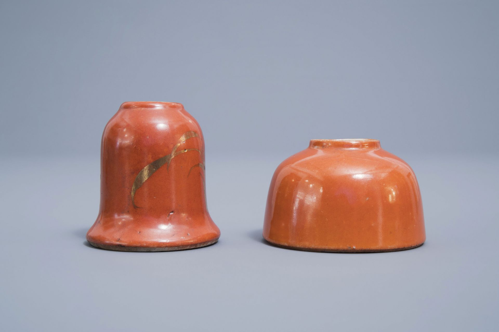 A Chinese four-part gilt decorated coral ground scholar's set, Republic, 20th C. - Image 17 of 22