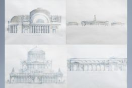 Italian school: An interesting series of four architectural hand-coloured engravings, 19th C.