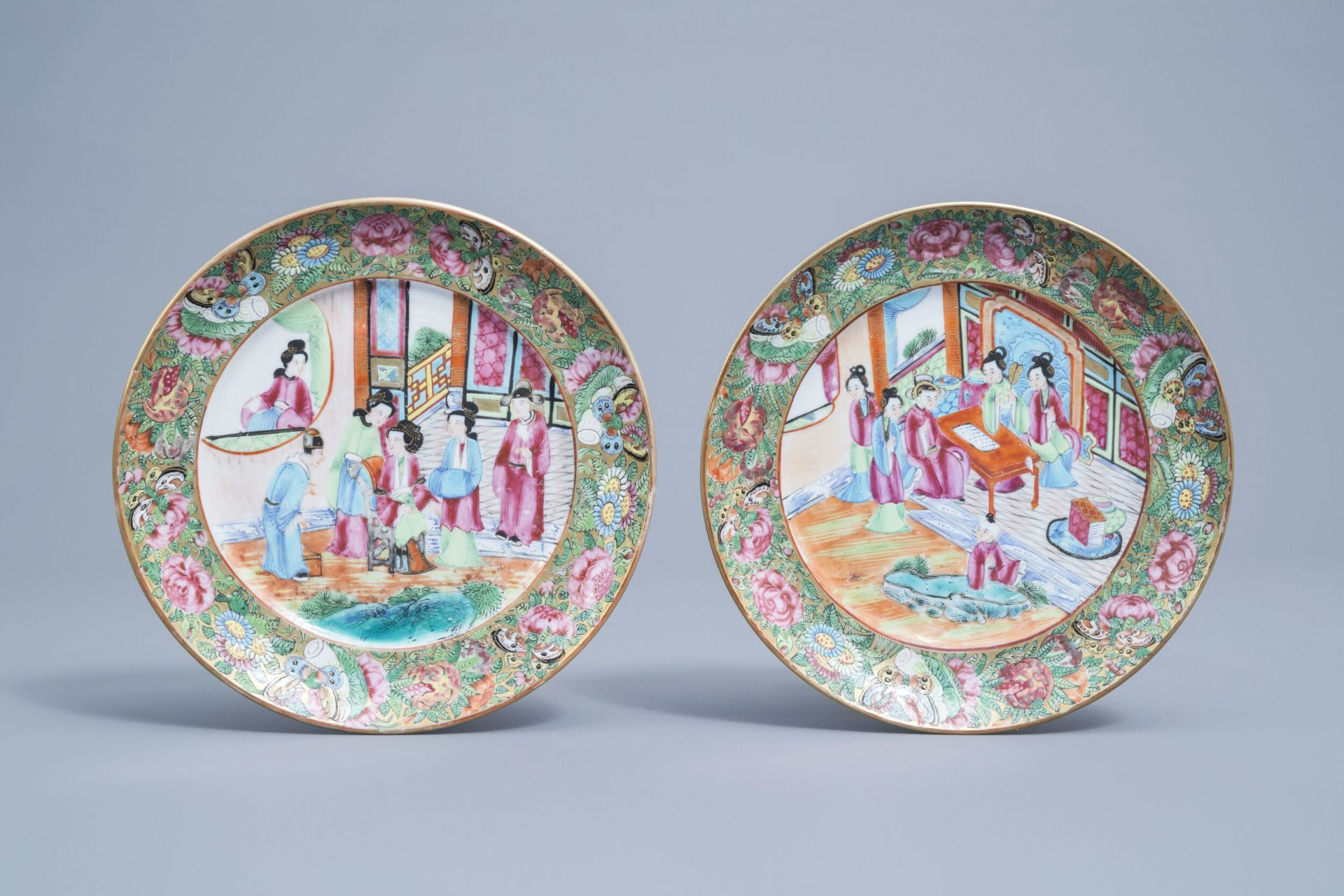 Two Chinese Canton famille rose plates with figures, 19th C.