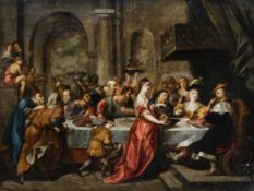 Flemish school, in the manner of Simon De Vos (1603-1676): The feast of Herod, 17th C.