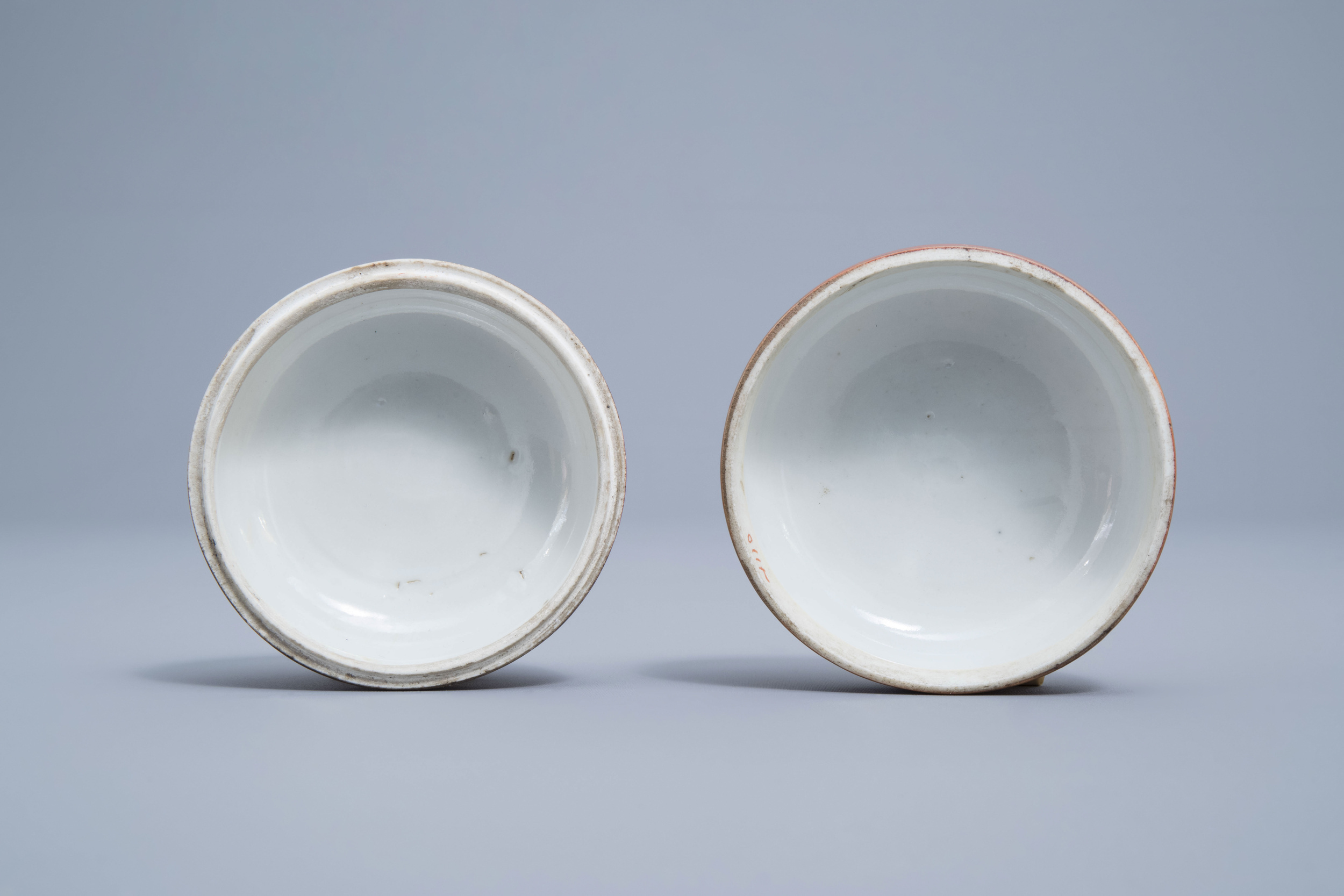 A Chinese four-part gilt decorated coral ground scholar's set, Republic, 20th C. - Image 12 of 22