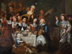 Dutch school: The lavish feast, oil on canvas, 17th C.