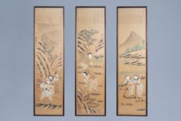 Three Chinese framed prints with cultivation scenes, 19th/20th C.