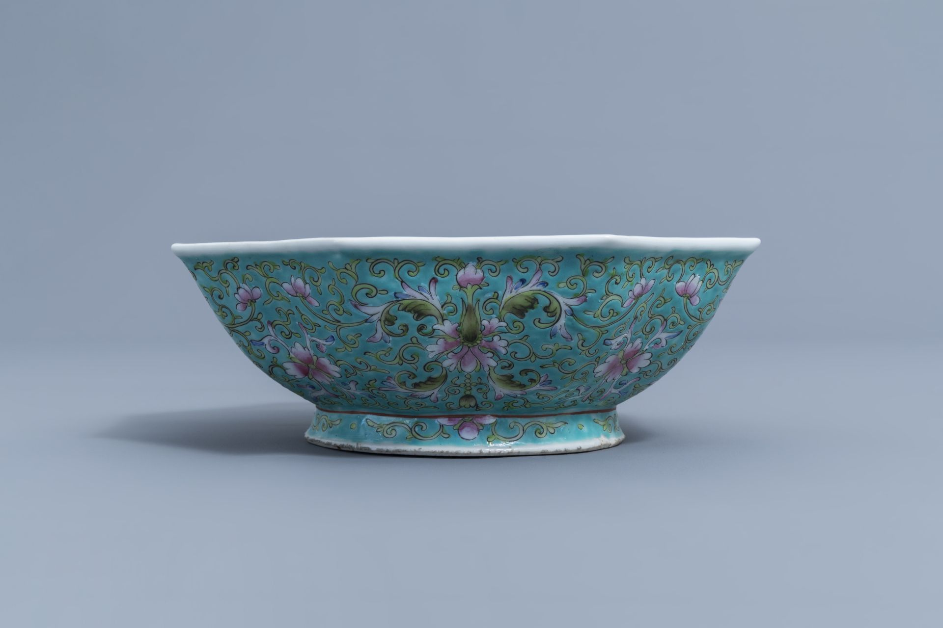 Two Chinese famille rose jardinires and a bowl with floral design, 20th C. - Image 10 of 15