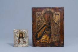 Two Russian icons, 'John the Forerunner' and 'Christ Pantocrator', 19th C.