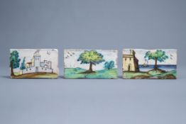 Three polychrome Spanish border tiles with landscapes, Talavera, 18th C.