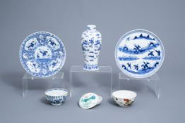 A varied collection of Chinese blue, white and famille rose porcelain, 18th C. and later