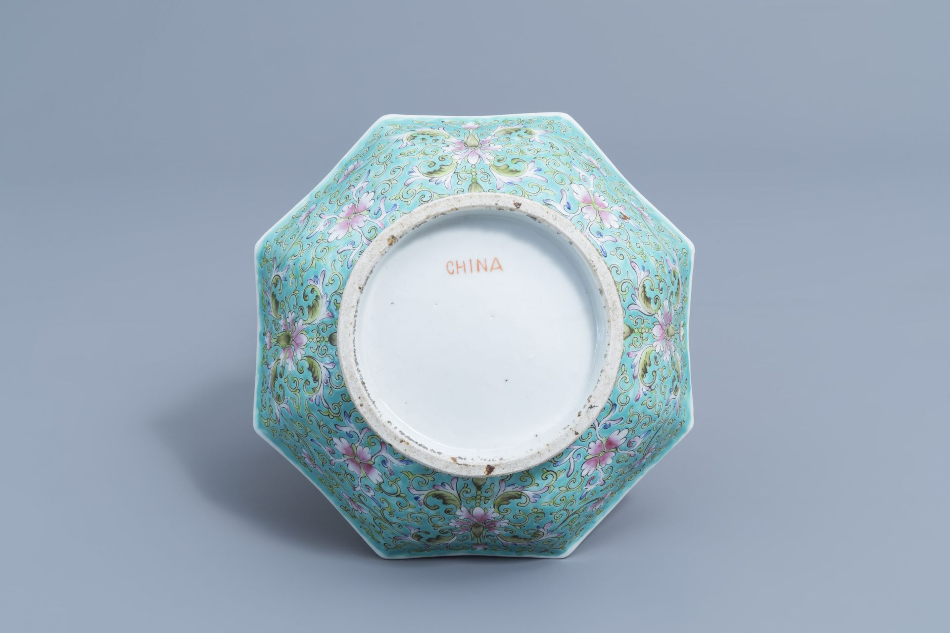 Two Chinese famille rose jardinires and a bowl with floral design, 20th C. - Image 15 of 15