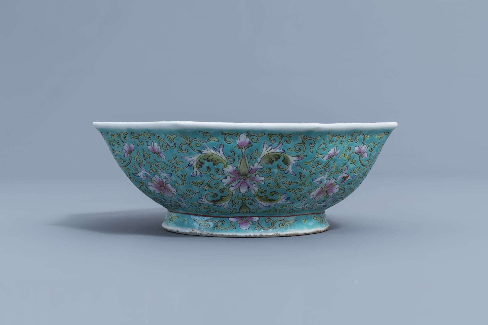 Two Chinese famille rose jardinires and a bowl with floral design, 20th C. - Image 13 of 15