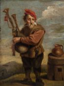 Flemish school, follower of Abraham Teniers (1629-1670): A peasant playing a bagpipe, 18th C.