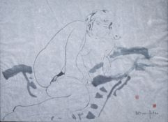 Alain Bonnefoit (1937): Reclining nude, mixed media on paper, dated (19)88