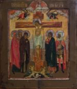 A Russian icon, 'The crucifixion of Christ', 19th C.
