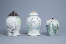 Two Chinese famille rose and qianjiang cai vases and covers and a ginger jar, 19th/20th C.