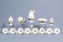 A 21-piece Paris polychrome and gilt porcelain coffee and tea service with landscapes, 19th C.