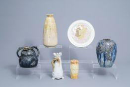 Five various polychrome decorated Art Nouveau vases and a LunŽville plate, various origins, 20th C.