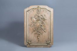 A French carved wooden Louis XV panel with ribbons and acanthus leaves, 18th C.