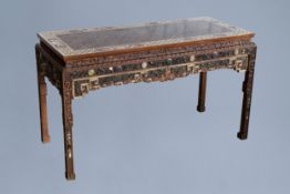 A Chinese bone and hardstone inlaid rectangular wooden table, 20th C.