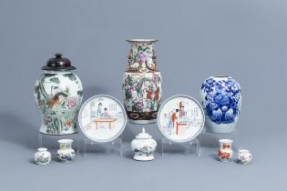 A varied collection of Chinese famille rose, iron red and blue and white porcelain, 19th/20th C.