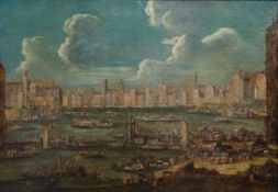 Flemish school, attributed to Peter Casteels II (ca. 1650-1701): Harbor view, 17th/18th C.