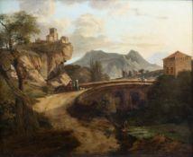 Italian school: An animated landscape, oil on panel, ca. 1800