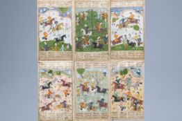 Six large Persian miniature paintings depicting hunting, tournament and war, Iran, 19th/20th C.