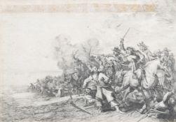 Flemish or Dutch school: The battle scene, etching, 17th C.