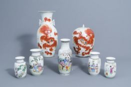 A Chinese iron red vase, a jar and cover with Buddhist lions & 5 famille rose vases, 19th/20th C.