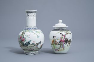A Chinese famille rose vase with pigeons and a vase and cover with ladies, Republic, 20th C.