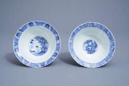 Two Japanese blue and white Arita bowls with floral design, 19th C.