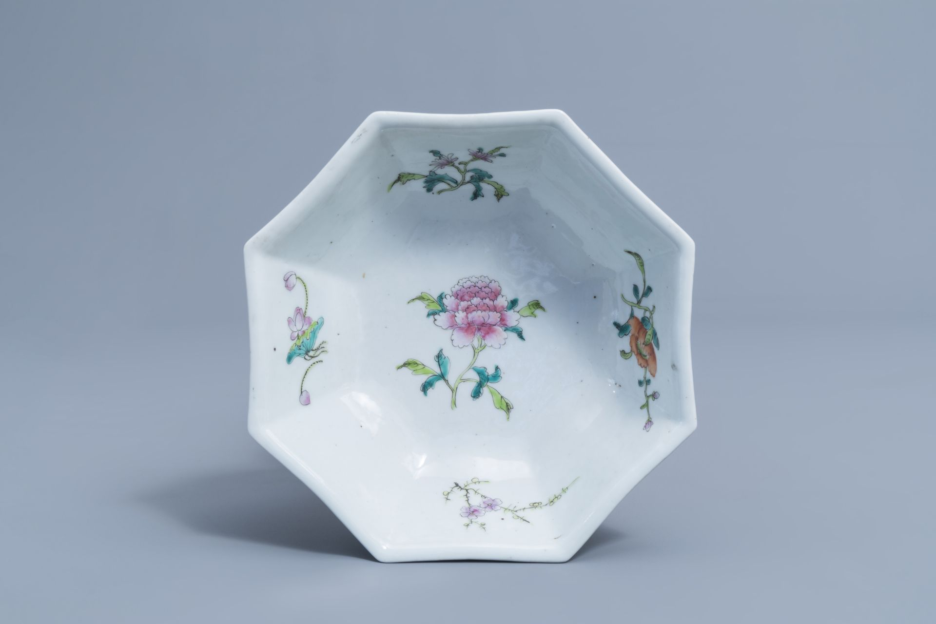 Two Chinese famille rose jardinires and a bowl with floral design, 20th C. - Image 14 of 15