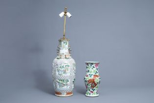 A Chinese famille verte vase and a famille rose yenyen 'dragon and phoenix' vase; 19th/20th C.