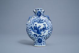 A Chinese blue and white moonflask with figures and a bird, 19th C.