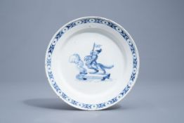 A blue and white pottery plate with a warrior on a griffin, probably Germany, 18th C.